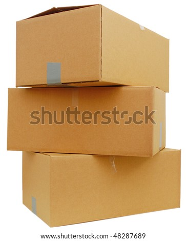 stacking box parcels - stock photo