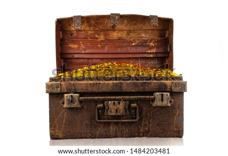 Stacking gold coin in treasure stack at white background #1484203481