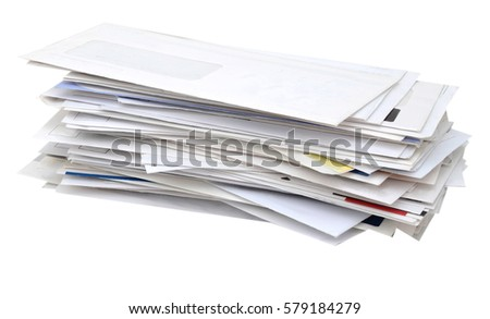 stacking of mails pile on white table #579184279