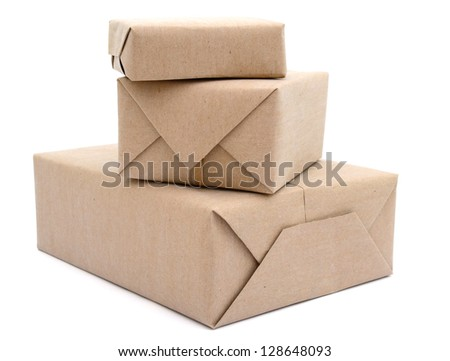 Stacking parcels boxes with kraft paper, isolated on white