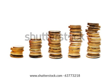 Stacks and piles of gold tinted coins.