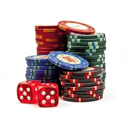 Stacks colored poker chips with dices isolated over white background