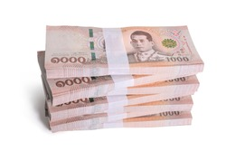 Stacks New Thailand money bank note value 1000 baht. isolated on white background. This has clipping path.