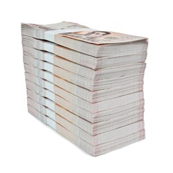 Stacks New Thailand money bank note value 1000 baht stacking 1000000 baht. isolated on white background. This has clipping path.