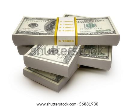 Stacks of $100