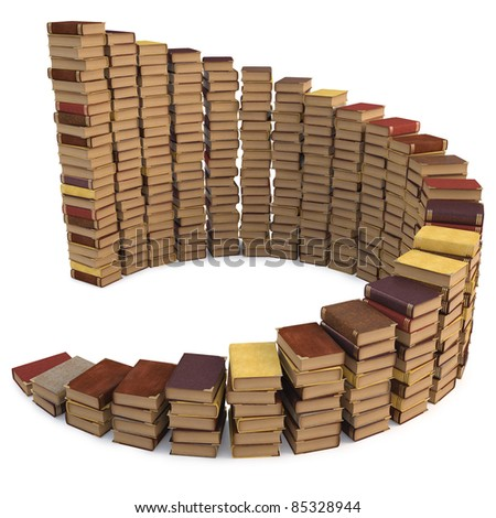 stacks of books in the form of a spiral staircase. isolated on white.