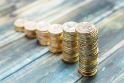 Stacks of British one pound coins