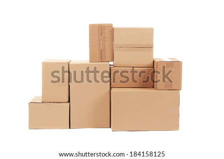 Stacks of cardboard boxes. Isolated on a white background.