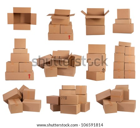 Stacks of cardboard boxes isolated on white background
