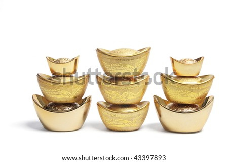 Stacks of Chinese Gold Nuggets on White Background