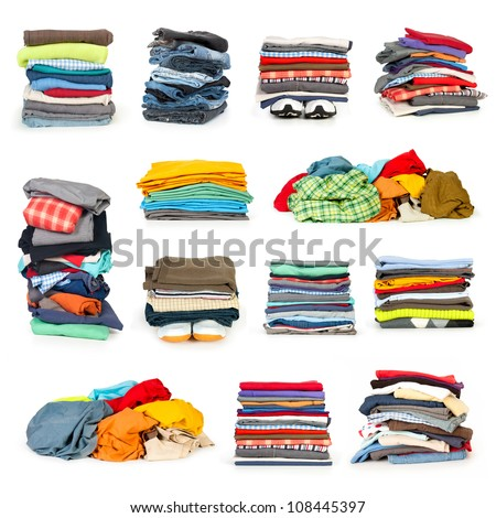 Shutterstock stacks of clothing collection isolated on white