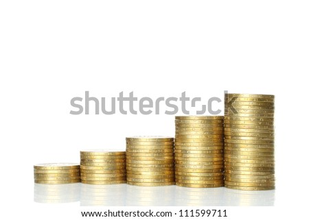 Stacks of coins on white background