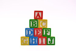 Stacks of colorful Alphabet wooden block for learning