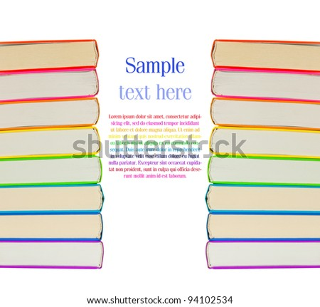 Stacks of colorful books on the white background