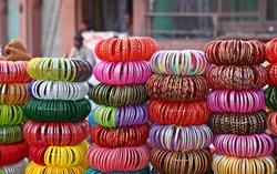 Stacks of colorful Rajasthani bangles