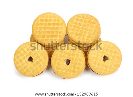Stacks of cookies on white background