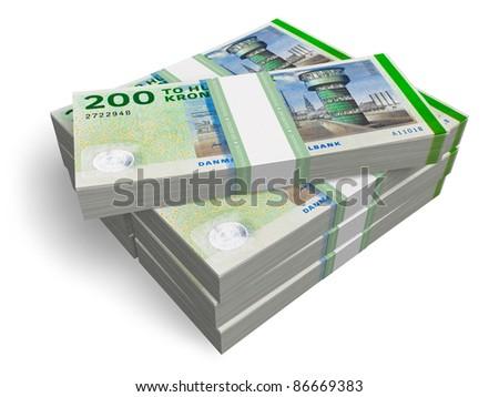 Stacks of 200 Danish kronas banknotes isolated on white background