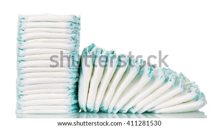 Stacks of diapers for children isolated on white background. #411281530