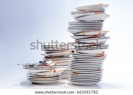 stacks of dirty dishes ...