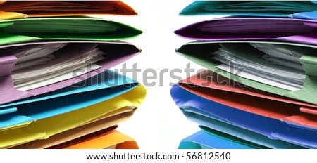Stacks of Document Folders on White Background