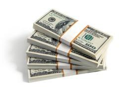 Stacks of dollars isolated on white background
