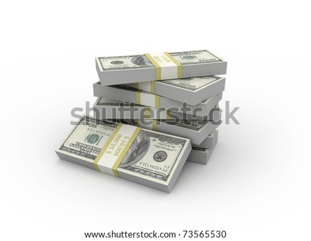 stacks of dollars on a white background - stock photo