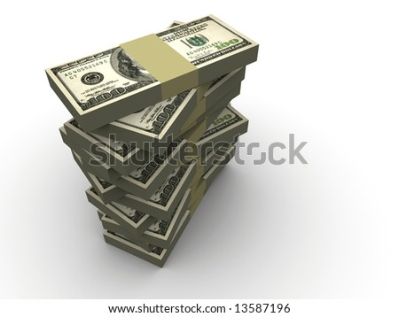 Stacks of dollars on white background - 3d render