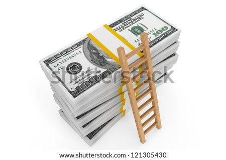 Stacks of dollars with a ladder on a white background