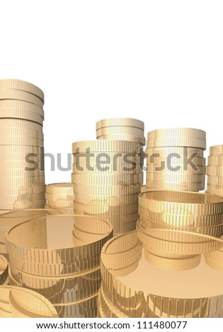 Stacks of gold coins are on the white background.