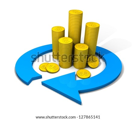 Stacks of gold coins in the financial turnover on a white background. 3d rendered illustration