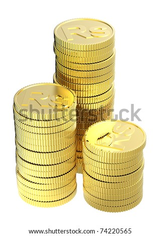 Stacks of gold rupee coins isolated on a white background. Computer generated 3D photo rendering.