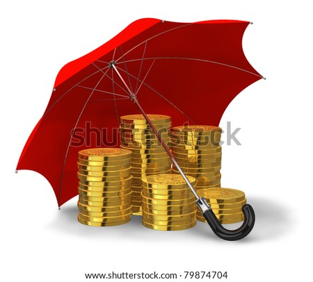 Stacks of golden coins covered by red umbrella isolated on white background