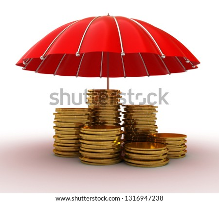 Stacks of golden coins covered by red umbrella isolated on white background. 3D rendering illustration