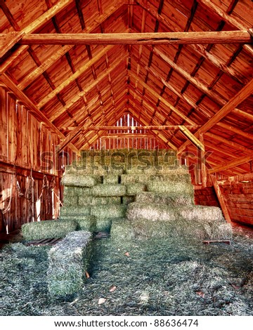 Stacks of hay inside the Gifford barn at the Fruita Oasis in Capitol Reef National Park, Utah