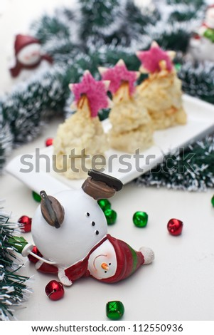 Stacks of Mashed Potatoes with Christmas Decorations