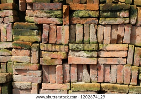 Stacks of Nepali bricks well arranged in Bhaktapur. Pic was taken in Nepal, August 2018.