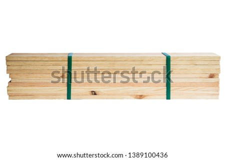 stacks of old wood pallets. wood pallets bundle for recycle or reuse isolated on white background