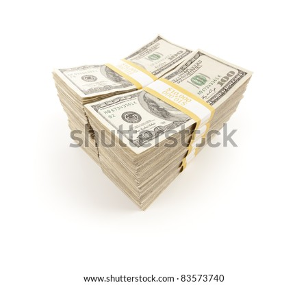 Stacks of One Hundred Dollar Bills Isolated on a White Background.