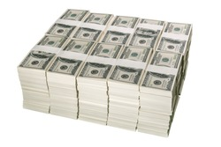 Stacks of one million US dollars in hundred dollar banknotes, isolated on white background, with clipping path.
