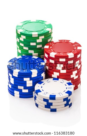 Stacks of poker chips isolated on white background