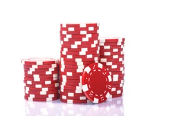 Stacks of poker chips on a white background