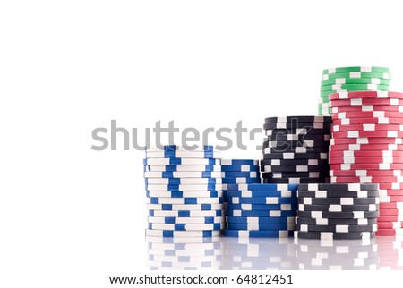 Stacks of Poker Chips with Space for Text