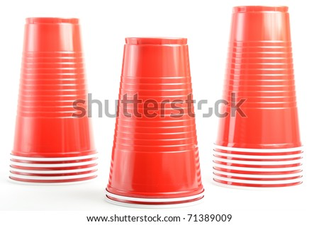 stacks of red plastic drinking cups
