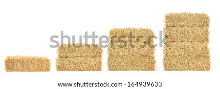 stacks of straw step by step, isolated on white #164939633