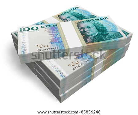 Stacks of Swedish Kronas isolated on white background