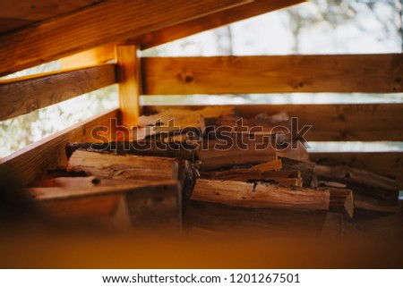 stacks of timber in timber yard