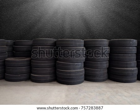 Stacks of tires in warehouse, Tires for sale at a tire store #757283887