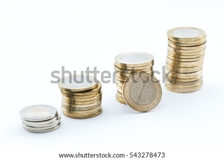 Stacks of Turkish coins on white background