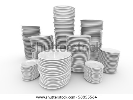 Stacks of white plates; 3D rendered image.