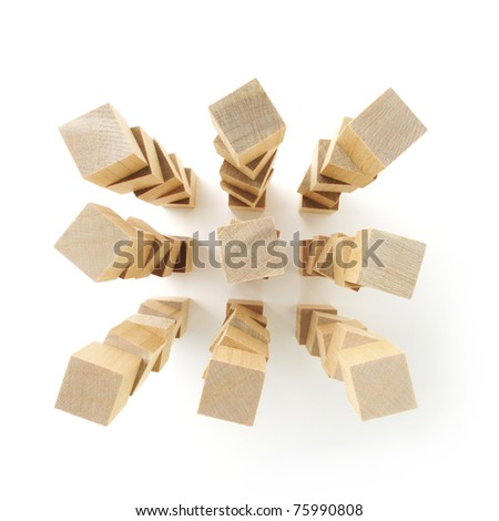 Stacks of wooden blocks